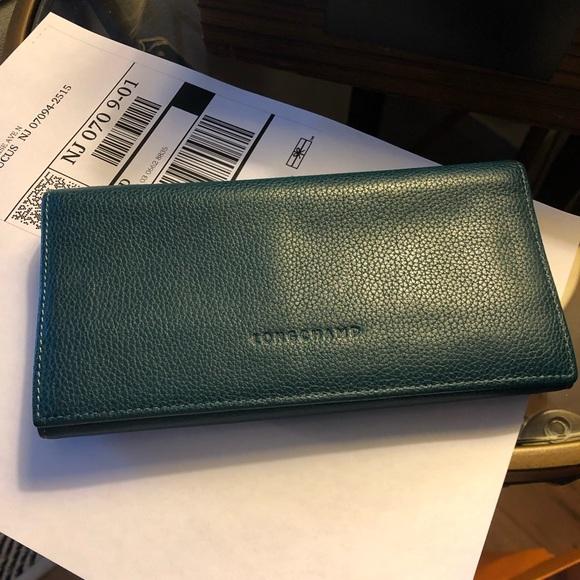 Mint Longchamp Teal Veau Foulonne Checkbook Wallet